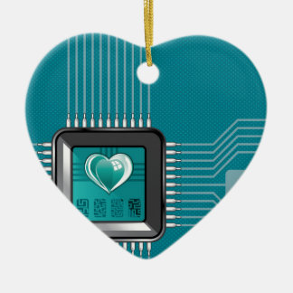 Computer processor with a heart and a code ceramic ornament