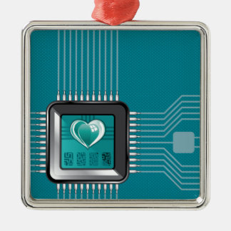 Computer processor with a heart and a code metal ornament
