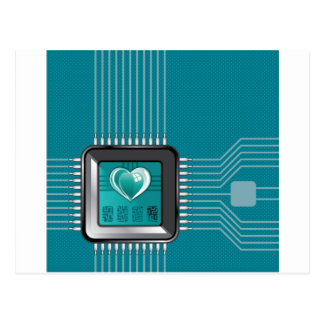 Computer processor with a heart and a code postcard