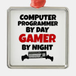 Computer Programmer by Day Gamer by Night Square Metal Christmas Ornament