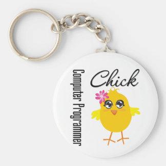 Computer Programmer Chick Keychain
