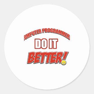 Computer Programmer designs Classic Round Sticker