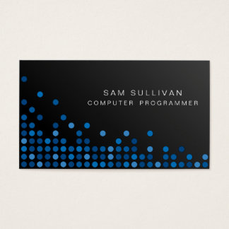 Computer Programmer IT Skills Abstract Blue Dots Business Card