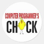 Computer Programmer's  Chick Round Sticker