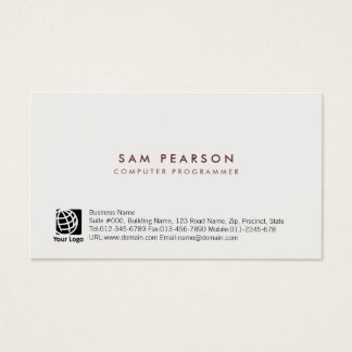 Computer Programmer Simple Minimal Business Card