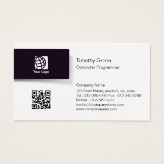 Computer Programmer TechnicalSkills Black Tab Logo Business Card