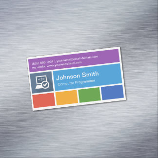 Computer Programming Teacher - Modern Metro Style Magnetic Business Cards (Pack Of 25)