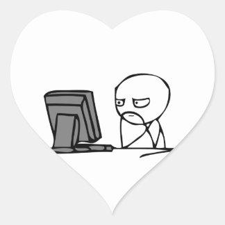 Computer Reaction Faces Heart Sticker