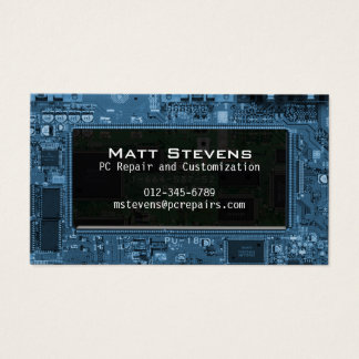 Computer Repair Business Card Circuits Window