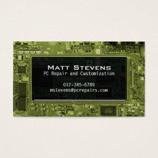 Computer Repair Business Card Circuits Window