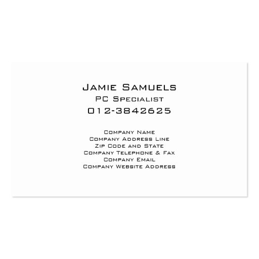 Computer Repair Business Card Electronic Circuits (back side)