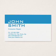 Computer Repair Modern Professional Plain Simple Business Card at Zazzle