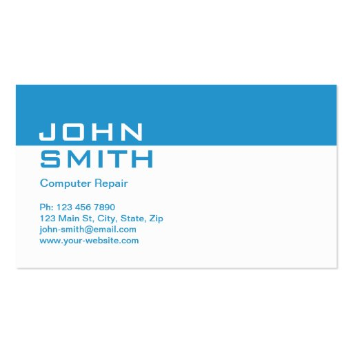 Computer repair modern professional plain simple double for Simple business card template