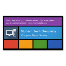 Computer Repair Retailer - Colorful Tiles Creative Business Card Magnet at Zazzle
