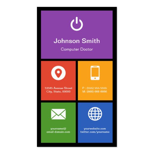 Computer Retailer Repair - Colorful Tiles Creative Business Cards (back side)