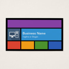 Computer Retailer Repair - Colorful Tiles Creative Business Card at Zazzle