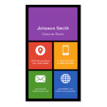 Computer Retailer Repair Colorful Tiles Your Logo Double-Sided Standard Business Cards (Pack Of 100)