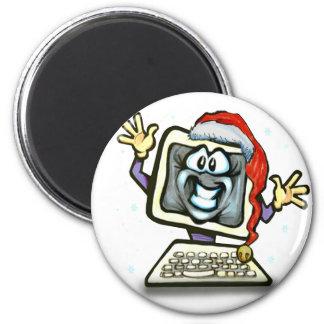 Computer Santa 2 Inch Round Magnet