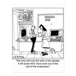 Computer Scares Employees Postcard