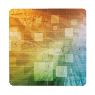 Computer Science as a Abstract Background Art Puzzle Coaster
