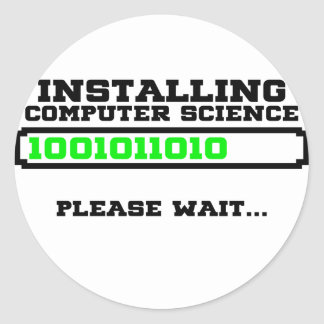 computer science degree classic round sticker