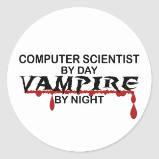 Computer Scientist by Day, Vampire by Night Classic Round Sticker