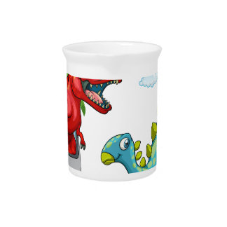 Computer screen with two dinosaurs drink pitcher