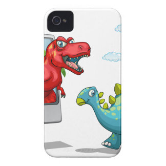 Computer screen with two dinosaurs iPhone 4 case