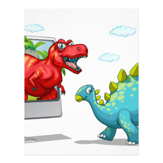 Computer screen with two dinosaurs letterhead