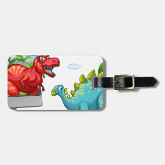 Computer screen with two dinosaurs luggage tag