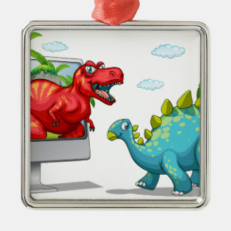 Computer screen with two dinosaurs metal ornament