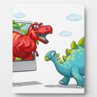 Computer screen with two dinosaurs plaque