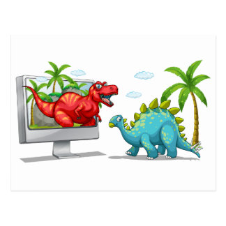Computer screen with two dinosaurs postcard