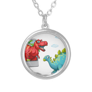 Computer screen with two dinosaurs round pendant necklace
