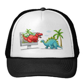 Computer screen with two dinosaurs trucker hat