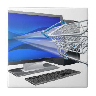 Computer shopping concept tiles