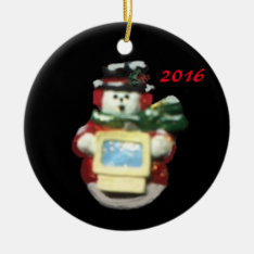 COMPUTER SNOWMAN 2016 COLLECTOR CHRISTMAS ORNAMENT at Zazzle