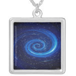 Computer Space Image Square Pendant Necklace