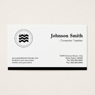Computer Teacher Black White Changeable Logo Business Card