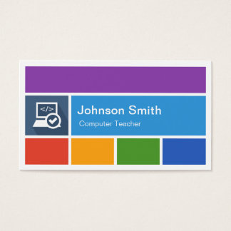 Computer Teacher - Creative Modern Metro Style Business Card