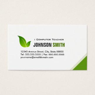 Computer Teacher - Elegant Modern Green Business Card