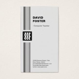 Computer Teacher - Modern Black White Business Card