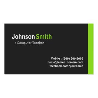 Computer Teacher - Modern Minimalist Green Double-Sided Standard Business Cards (Pack Of 100)