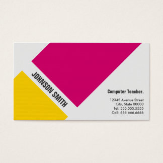 Computer Teacher - Simple Pink Yellow Business Card