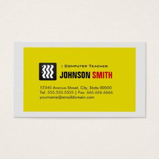 Computer Teacher - Urban Yellow White Business Card