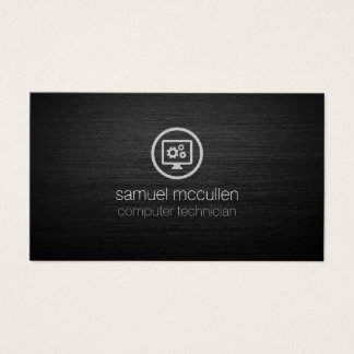 Computer Technician Gears Icon Brushed Metal Business Card
