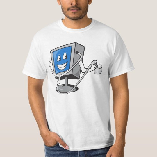 Computer TV Monitor With Doctor Stethoscope T-Shirt
