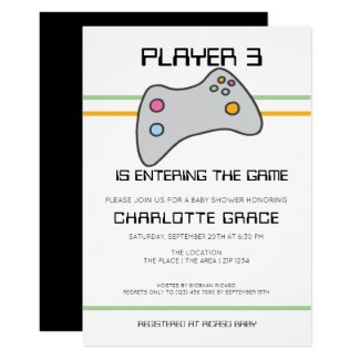 Computer Video Game Player Has Entered Baby Shower Invitation