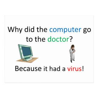Computer virus joke postcard