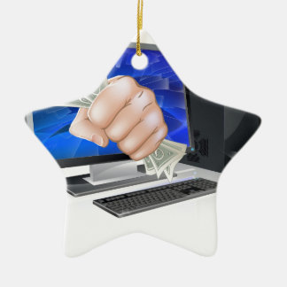 Computer with fist full of cash ceramic ornament